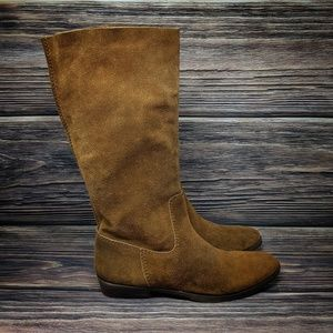 Nine West Suede Tall Low Heel Western Boots sz 9